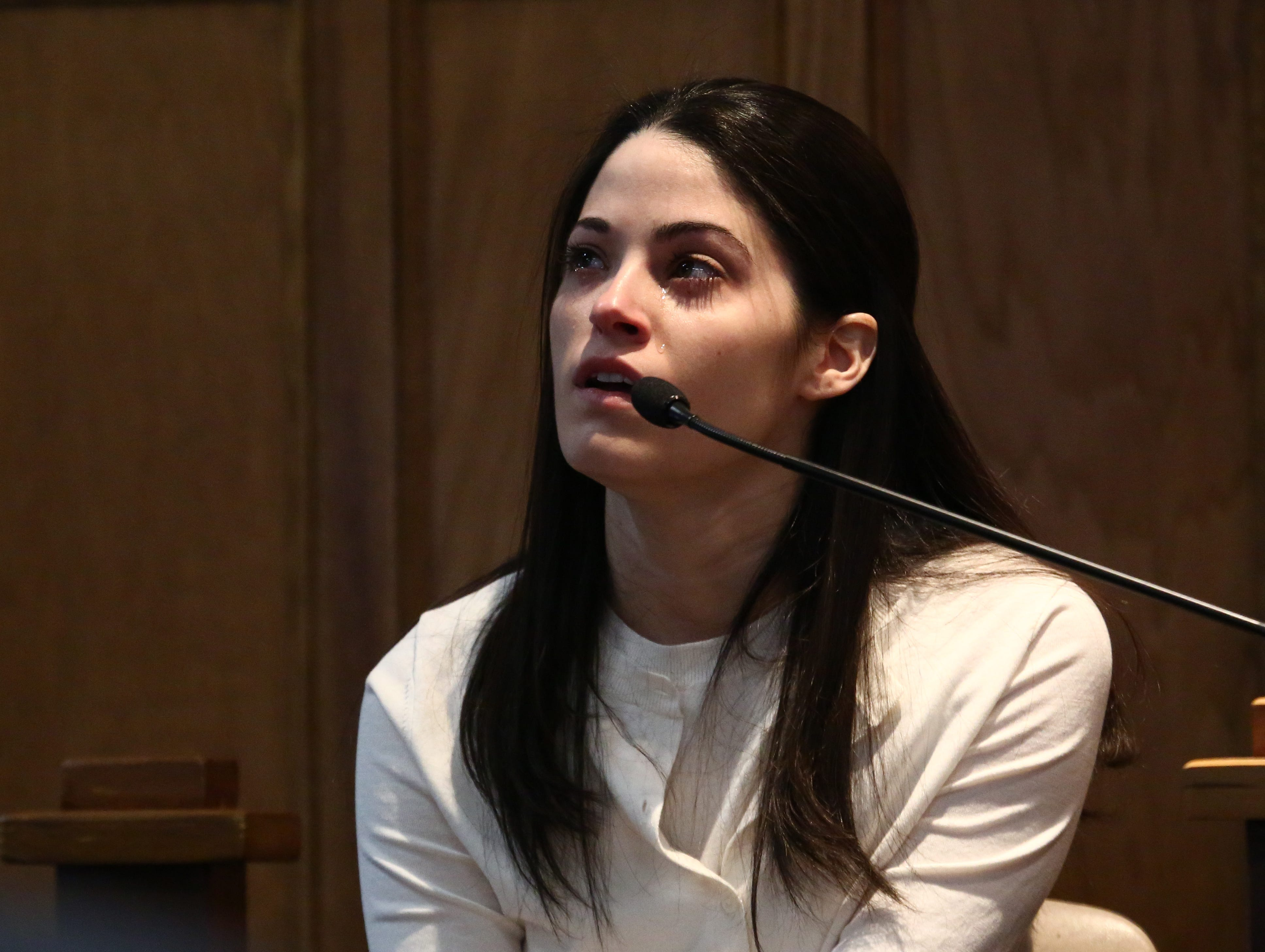 Nicole Addimando on the witness stand during her murder trial in the courtroom of Hon. Edward McLoughlin on March 25, 2019.