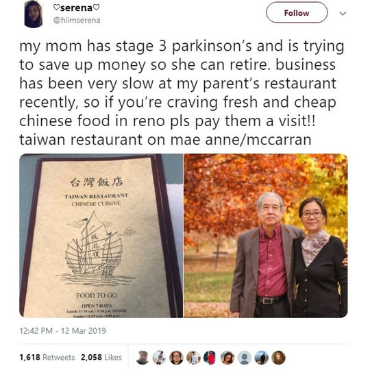On March 12, 2019, Serena Lee's Twitter post about the challenges facing her parents and their Taiwan Restaurant in Northwest Reno went viral.