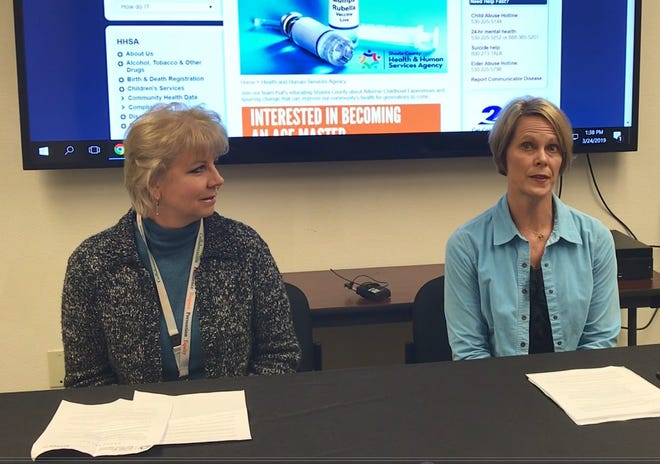 Shasta County Public Health Director Terri Fields Hosler, left, and Dr. Karen Ramstrom, county health officer, discuss a cluster of measles cases discovered in Tehama, Butte and Shasta counties.