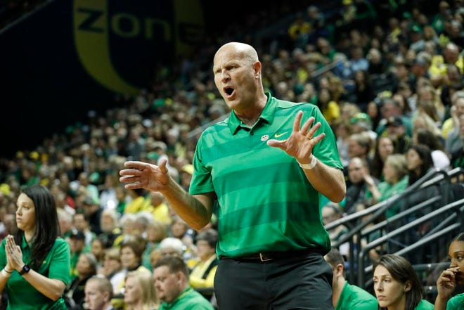 Oregon coach Kelly Graves directs his team against Indiana during a second-round game of the NCAA women's college basketball tournament Sunday, March 24, 2019, in Eugene, Ore. (AP Photo/Thomas Boyd)