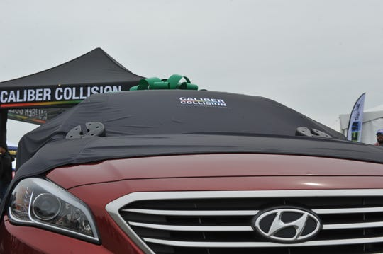 """A glimpse of the 2016 Hyundai Sonata Lawrence Duke """"Frosty"""" Frost was set to receive from GEICO and Caliber Collision at the California International Airshow Salinas on March 24, 2019."""