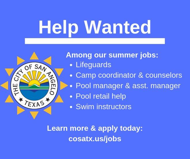 The City of San Angelo is hiring summer jobs.