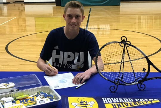 Cornersone Christian's Peyton Jost signed a tennis scholarship with Howard Payne University on Monday, March 25, 2019.