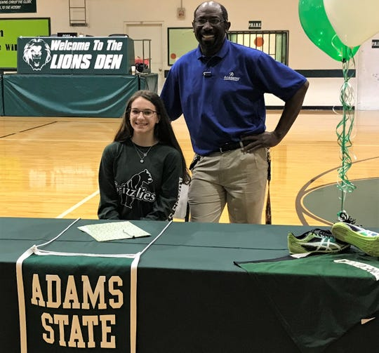 Cornerstone Christian's Jessica Simon signed a track and field scholarship with Adams State in Colorado on Monday, March 25, 2019. Cornerstone track coach Gary Gabriel played a big factor in her success.