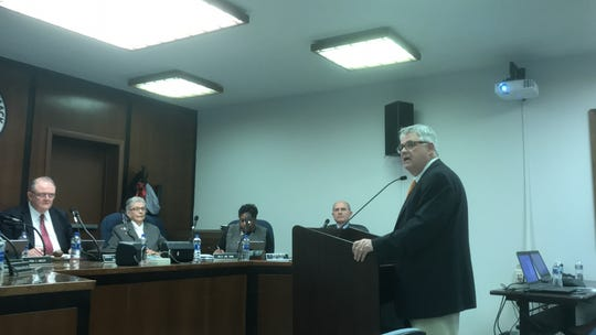 Dave Pierce, acting director of NASA Wallops Flight Facility, updates the Accomack County Board of Supervisors on the facility on Wednesday, March 20, 2019 in Accomac, Virginia.