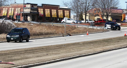 An overall of the scene along Taylor Drive near Erie Avenue where a motorist apparently struck a pedestrian, Monday, March 25, 2019, in Sheboygan, Wis.