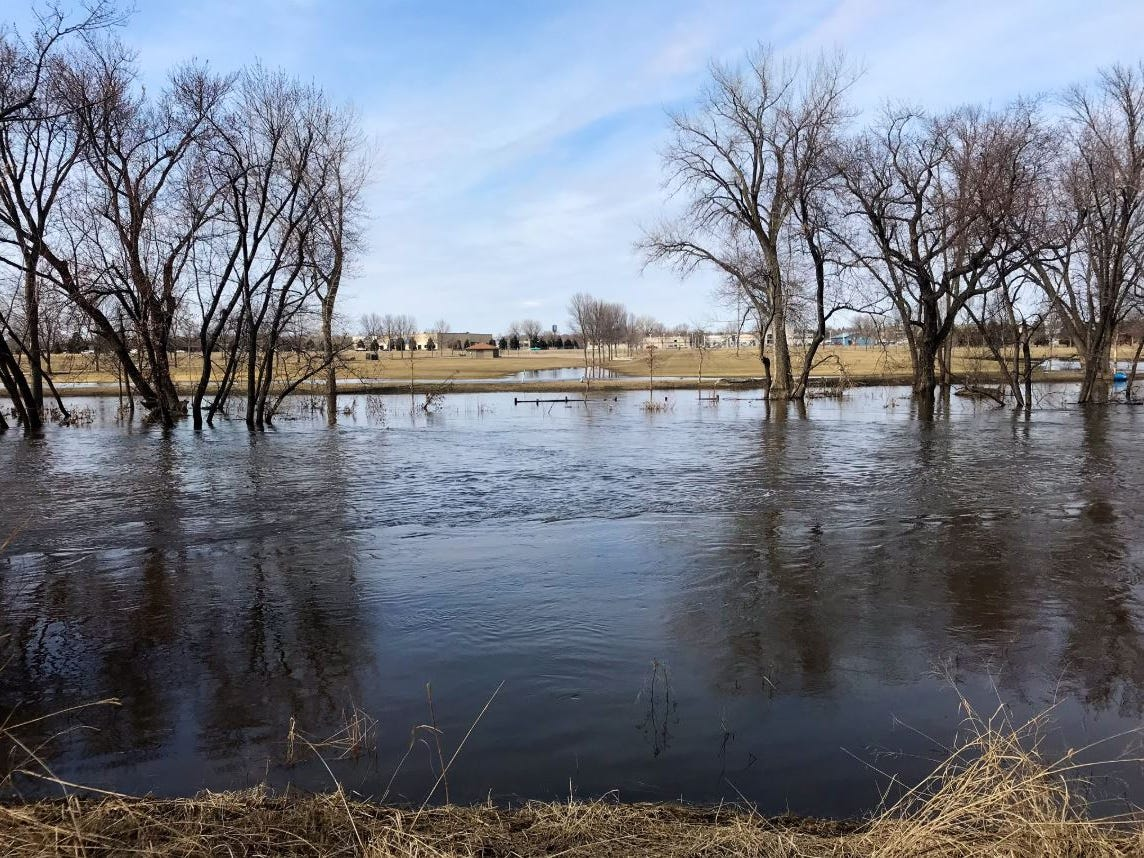 Flooding at Yankton Trail Park on March 25, 2019.