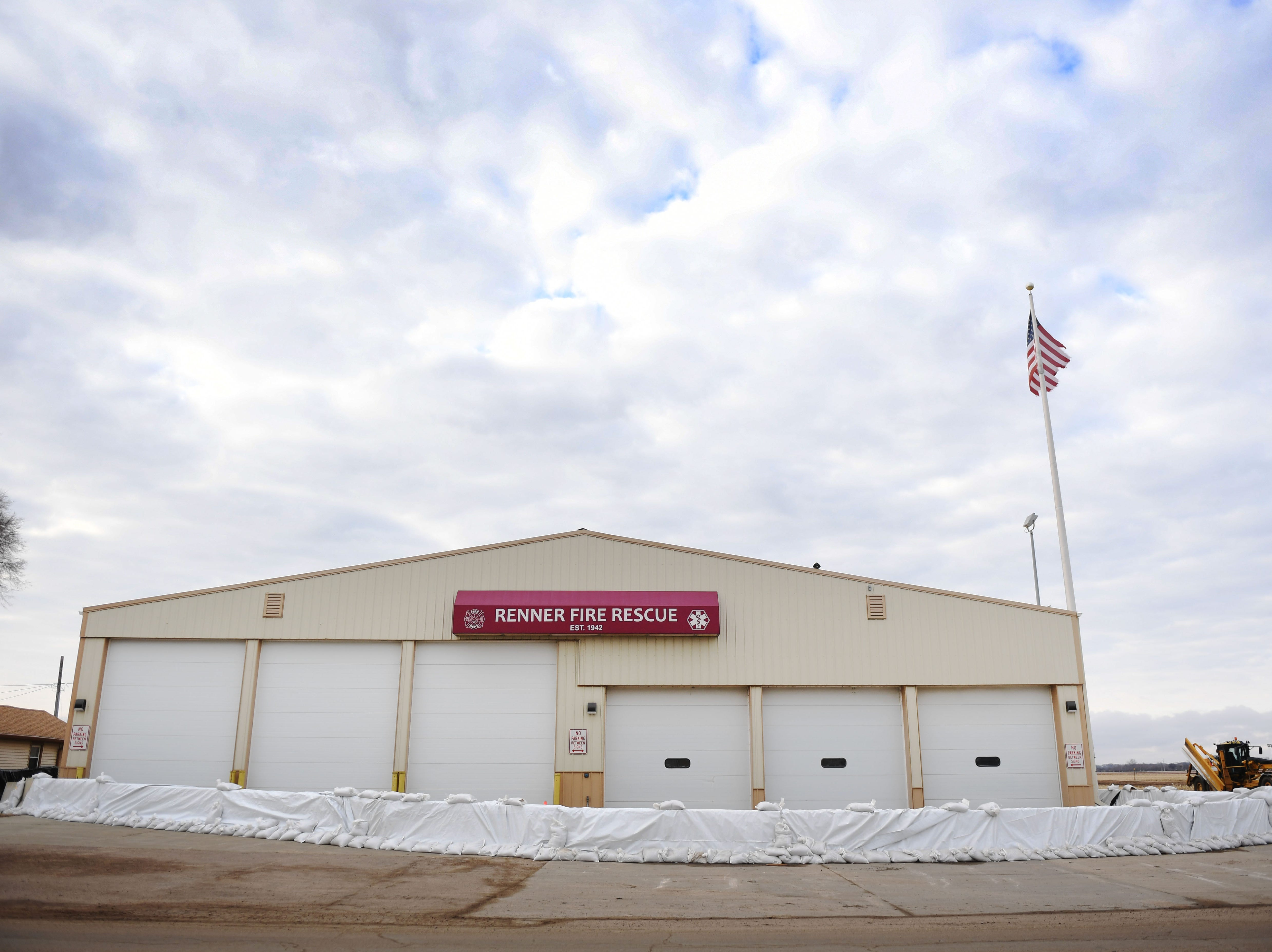 Renner Fire Rescue building is surrounded by sandbags to prevent flooding in Renner Monday, March 25, in Renner, S.D.