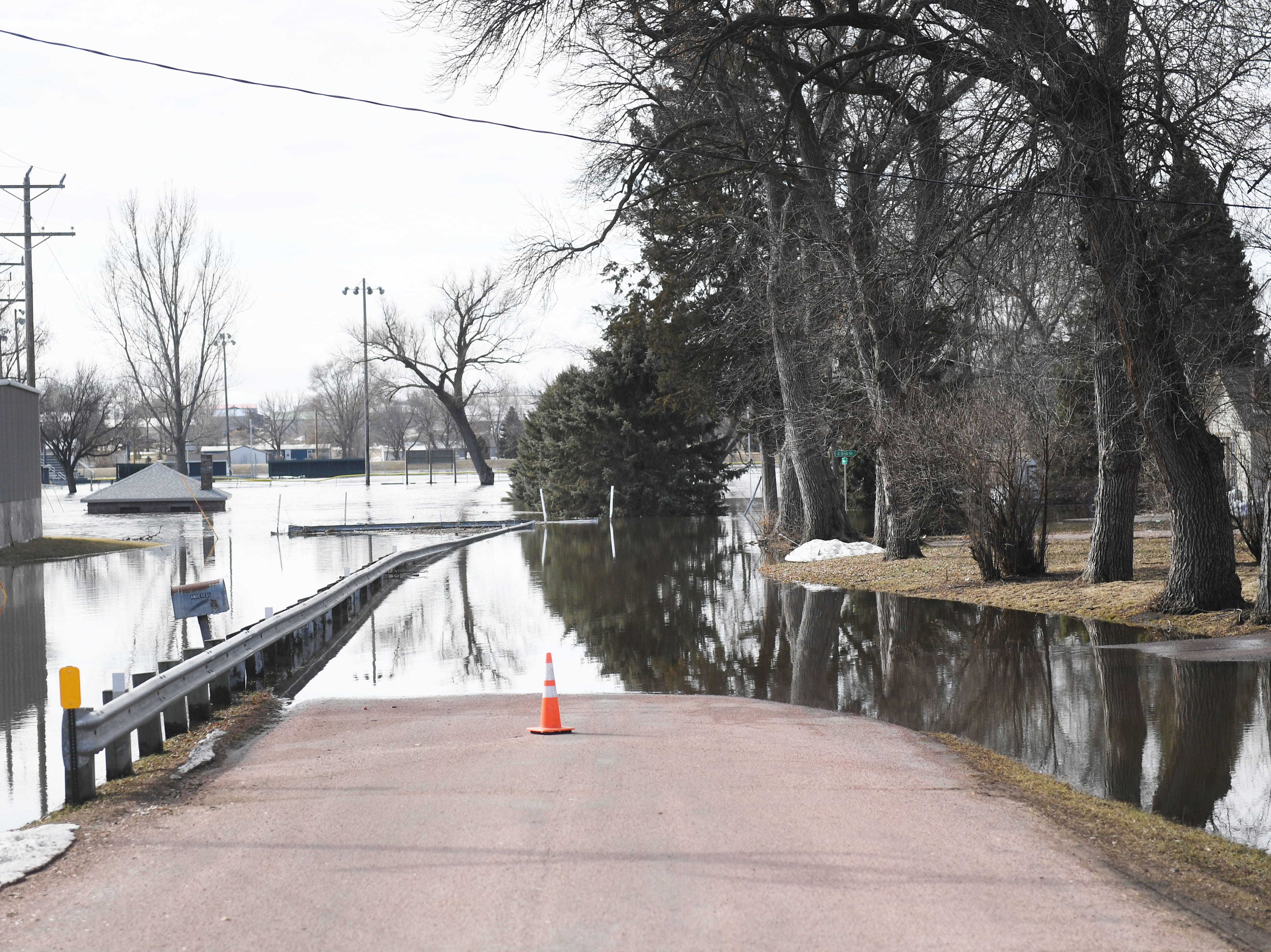 Flooding in Dell Rapids Monday, March 25, in Dell Rapids, S.D.