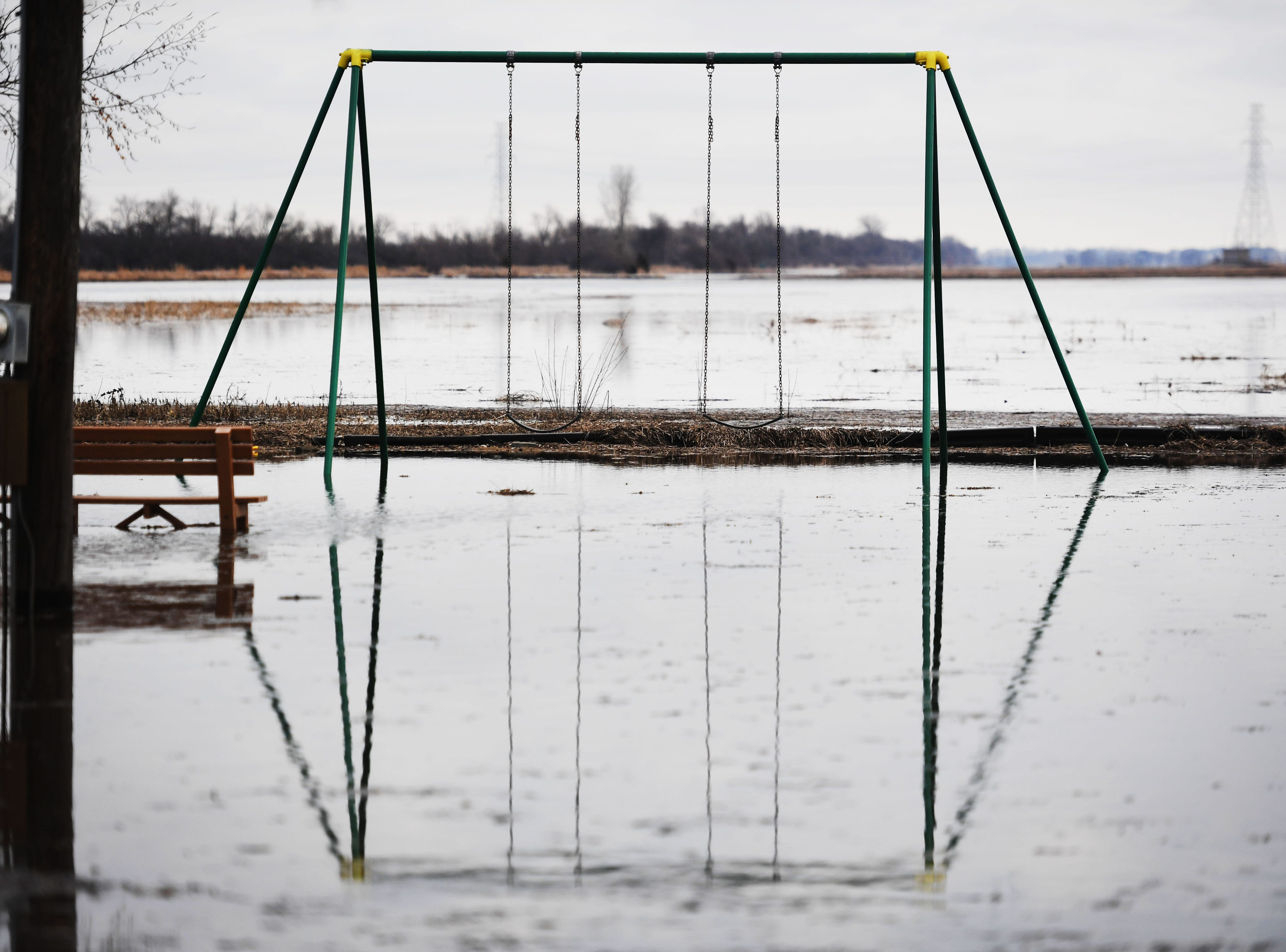 Flooding at a park in Renner Monday, March 25, in Renner, S.D.