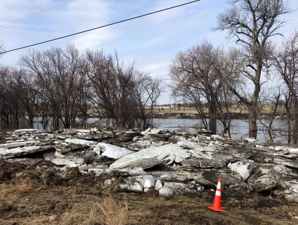 Ice chunks along 57th Street in Sioux Falls on March 25, 2019.