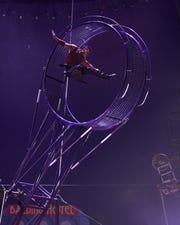 """CircUnique will have five new acts at Silver Dollar City's Festival of Wonder, including the """"Wheel of Danger,"""" an 18-foot revolving pendulum maneuvered high above the Opera House stage. The Festival of Wonder runs Wednesdays through Sunday, April 10–28 (closed Easter)."""