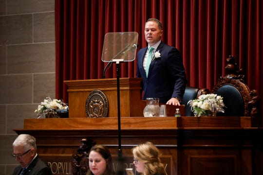 Speaker of the House Rep. Elijah Haahr speaks after being sworn in at the Missouri State Capitol in Jefferson City on Wednesday, Jan. 9, 2019.