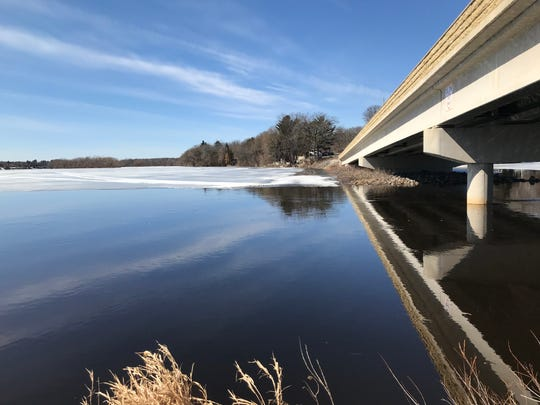 Much of the Mississippi River near Gordon's Bridge and the channel to Little Rock Lake remains ice-covered Monday, March. 25