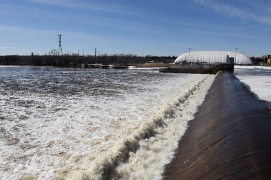 The National Weather Service has issued a flood warning for the Mississippi River at St. Cloud starting Wednesday morning. The river at the St. Cloud Dam Monday is shown here. Monday morning the river was at 8.6 feet. Flood stage is 9 feet.