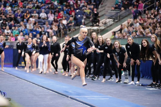 St. George native Rebekah Bean charges during her vault entry. Bean tore her ACL performing the vault on February 15th.