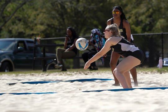 Florida High junior Carlee Allbaugh plays during the preseason beach volleyball classic at Tom Brown Park Monday, March 25, 2019.