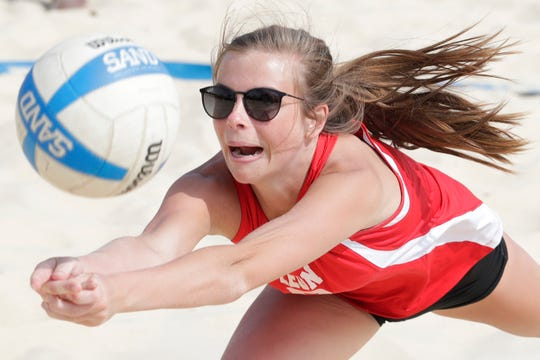 Leon plays during the preseason beach volleyball classic at Tom Brown Park Monday, March 25, 2019.