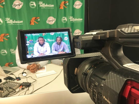 A Rattler Productions camera captures the Facebook live stream featuring FAMU associate athletics director Vaughn Wilson (left) and football head coach Willie Simmons. The webcast aired on March 25, 2019.