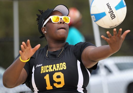 Rickards competes in the preseason beach volleyball classic at Tom Brown Park on Monday, March 25, 2019.
