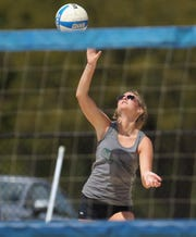 Lincoln senior Amber Grant competes in the preseason beach volleyball classic at Tom Brown Park on Monday, March 25, 2019.