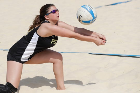 Florida High's Hallie Solomon plays during the preseason beach volleyball classic at Tom Brown Park Monday, March 25, 2019.