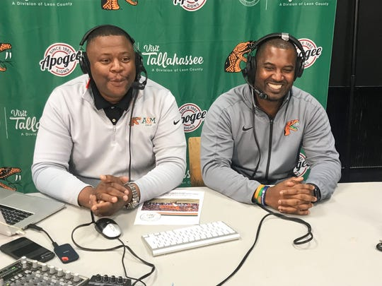 FAMU associate athletics director Vaughn Wilson (left) and football head coach Willie Simmons discussed the 2019 spring game on Facebook live stream on Monday, March 25, 2019.