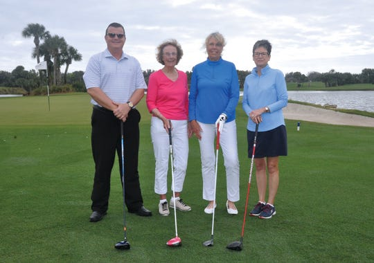 Orchid Island Golf Pro Rich Waage, left, with VNA & Hospice Foundation Golf-A-Thon Co-Chairs Mo Reilly, Catherine Reichert and Robbie Saxton.