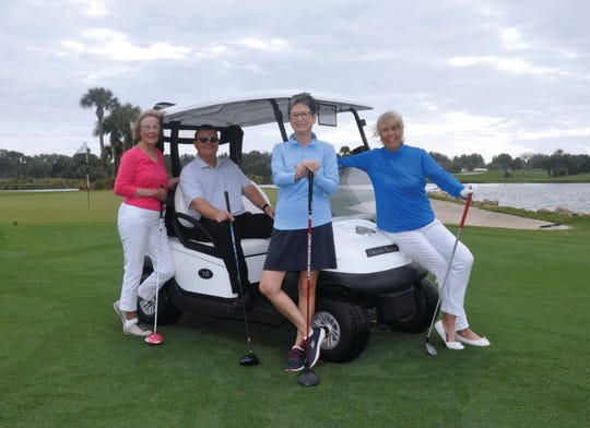 VNA & Hospice Foundation Golf-A-Thon Co-Chair Mo Reilly, left, Orchid Island Golf Pro Rich Waage and Co-Chairs Robbie Saxton and Catherine Reichert.