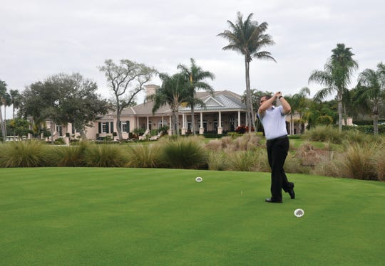 Orchid Island Golf Pro Rich Waage takes a swing from the tee.