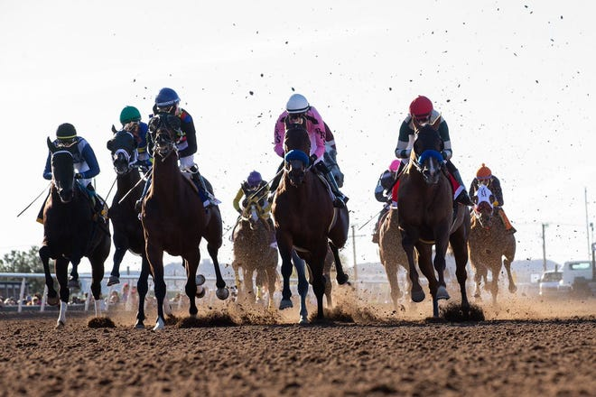 Horses race during the 2019 Sunland Derby at Sunland Park Racetrack & Casino
