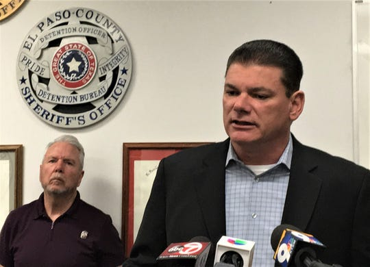 El Paso County Sheriff Richard Wiles speaks about the death of Deputy Peter Herrera at a Sunday night news conference joined by El Paso County Judge Ricardo Samaniego.
