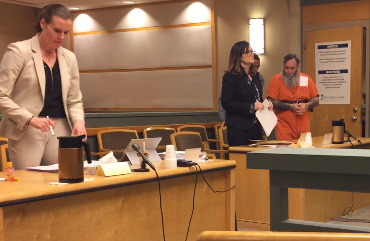 Thomas F. Pierson (right) of Sicklerville was arraigned on Monday in Cumberland County Superior Court on charges he molested an elderly dementia patient during a visit to Inspira Medical Center Vineland on Dec. 20, 2018. Pierson stands with defense counsel Diane Ruberton. County Assistant Prosecutor Meghan Price represented the state.