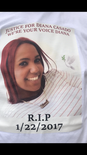 Several of Diana Casado's friends and relatives wore shirts like this one at a court appearance for the man suspected of killing her