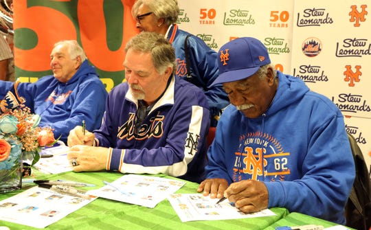 "Members of the 1969 ""Miracle Mets"" from right, Cleon Jones, Ron Swoboda and Ed Kranepool sign autographs at Stew Leonard's in Yonkers March 25, 2019. As part of Stew Leonard's 50th anniversary celebration, they invited members of the 1969 ""Miracle Mets"" to commemorate their 50th anniversary of winning the World Series. Proceeds will benefit the Alzheimer's Association."