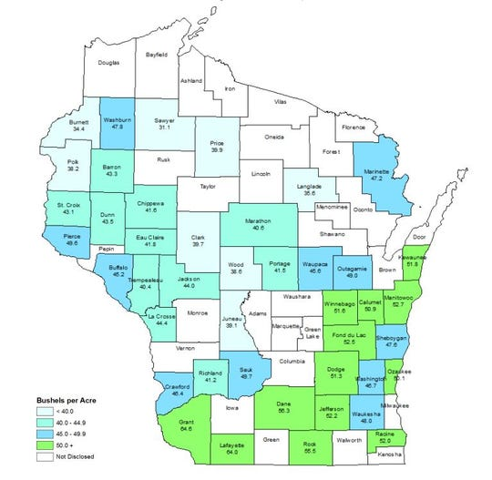Statewide average yield for soybeans in Wisconsin last year was 49.0 bu/acre, according to the National Agricultural Statistics Service.