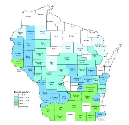Statewide average yield for corn used for grain production in 2018 was 172.0 bu/acre, according to the National Agricultural Statistics Service.