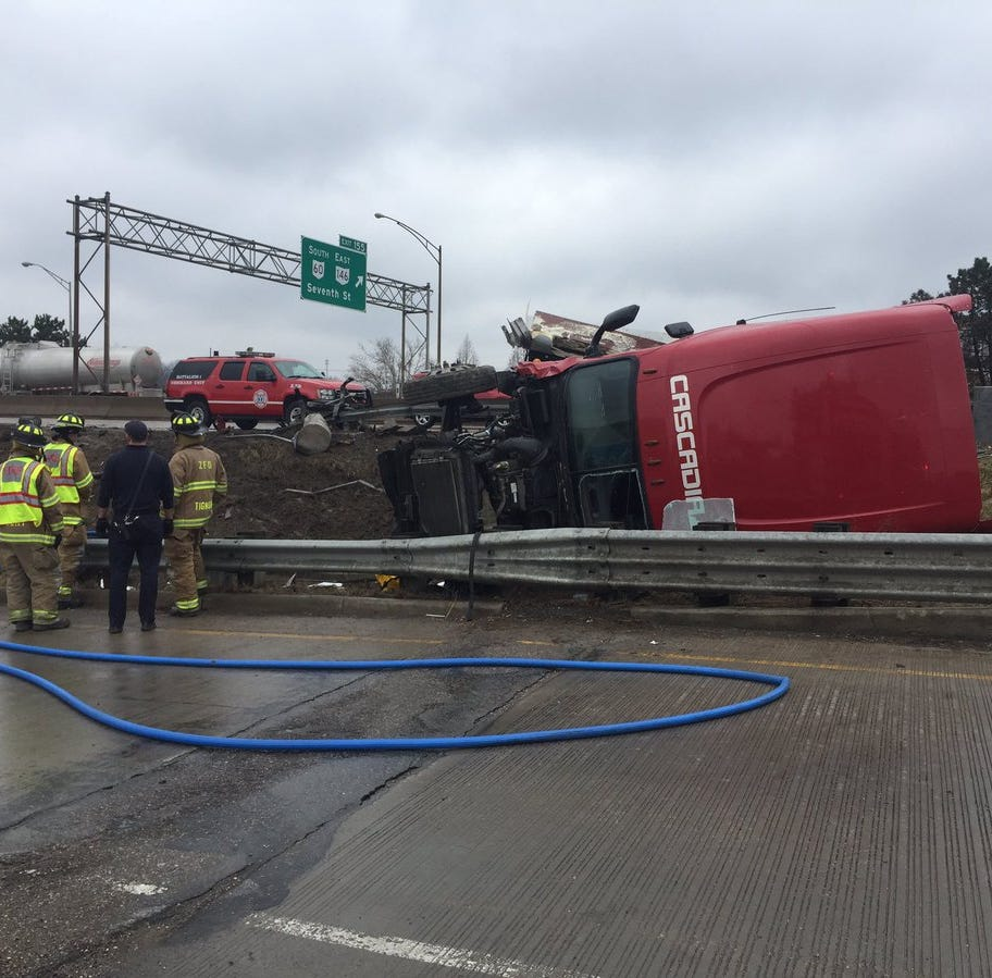 Semi rollover backing up traffic on I-70