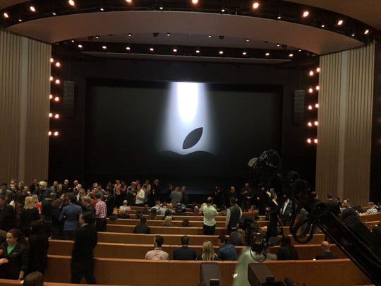 Inside the Steve Jobs Theater in Cupertino, Calif., where Apple is set to announce new streaming services.