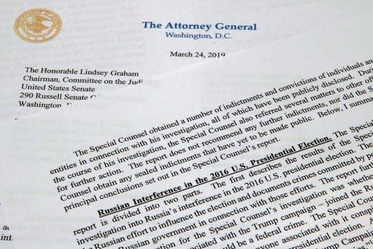 The letter from Attorney General William Barr to Congress on the conclusions reached by special counsel Robert Mueller.