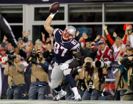 Rob Gronkowski caught 79 touchdowns in nine seasons, many punctuated by a Gronk Spike.
