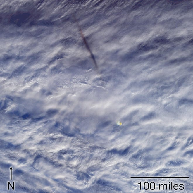 An image captured by NASA showing a meteor which had just exploded. It generated enough energy equal to 173 kilotons of TNT, said the agency.