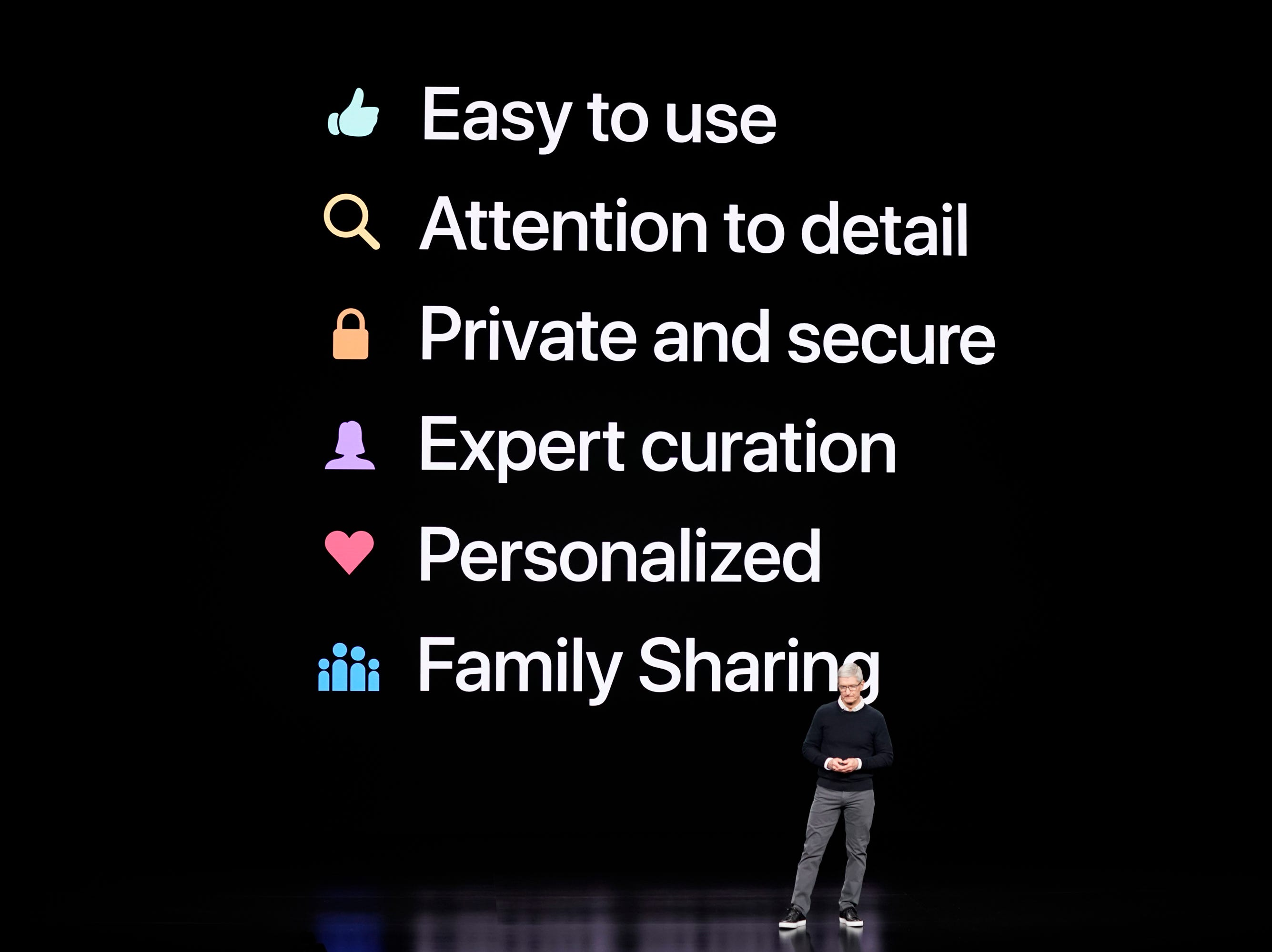 Apple CEO Tim Cook at the Steve Jobs Theater during an event to announce new products.