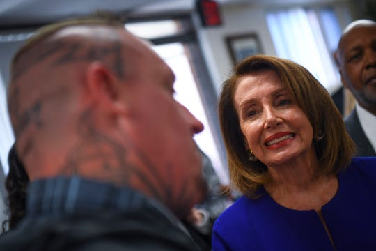 Speaker of the House Nancy Pelosi speaking to people at the Fathers Support Center of St. Louis March 18, 2019.