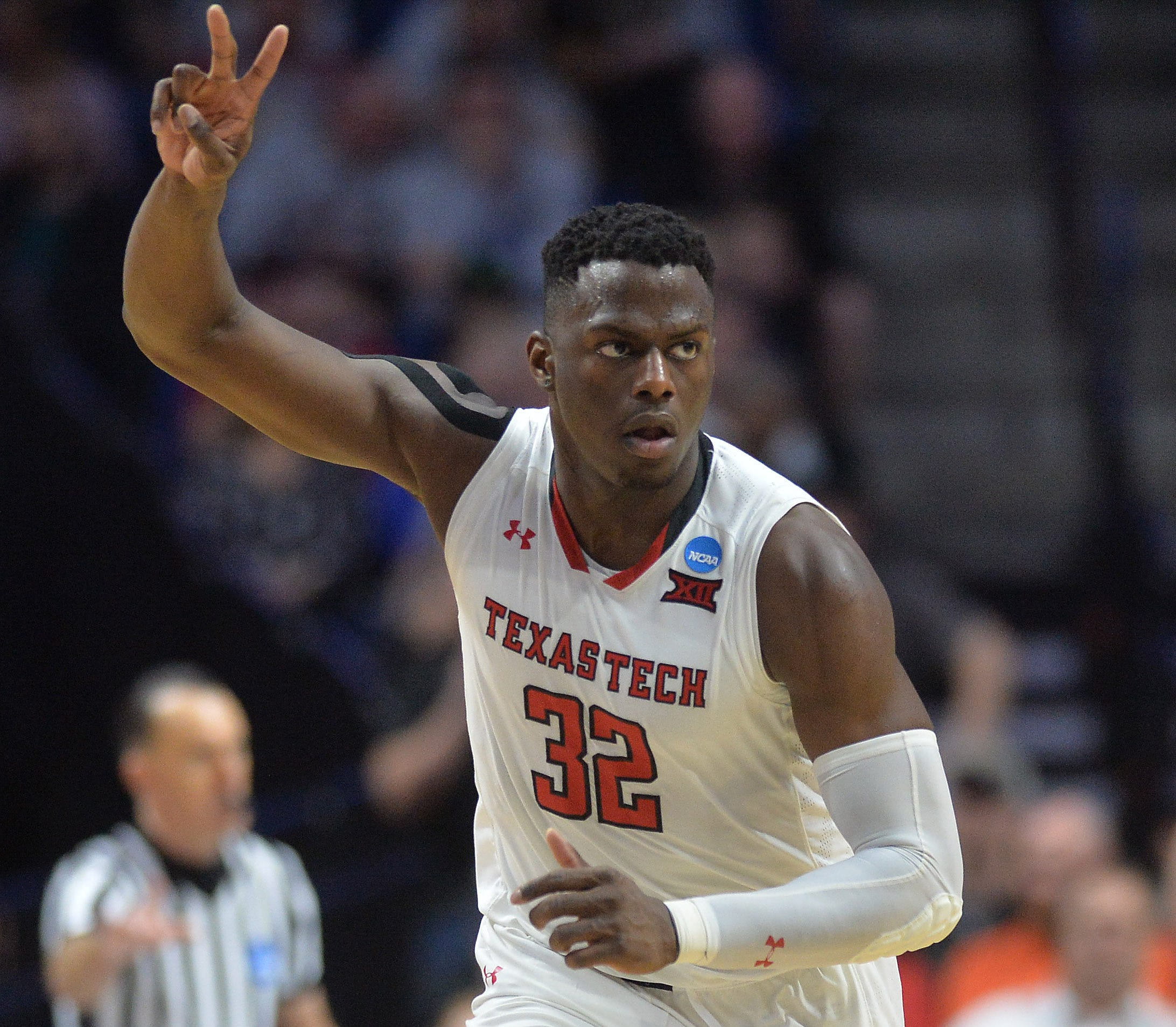 Norense Odiase celebrates during Texas Tech's win over Buffalo.