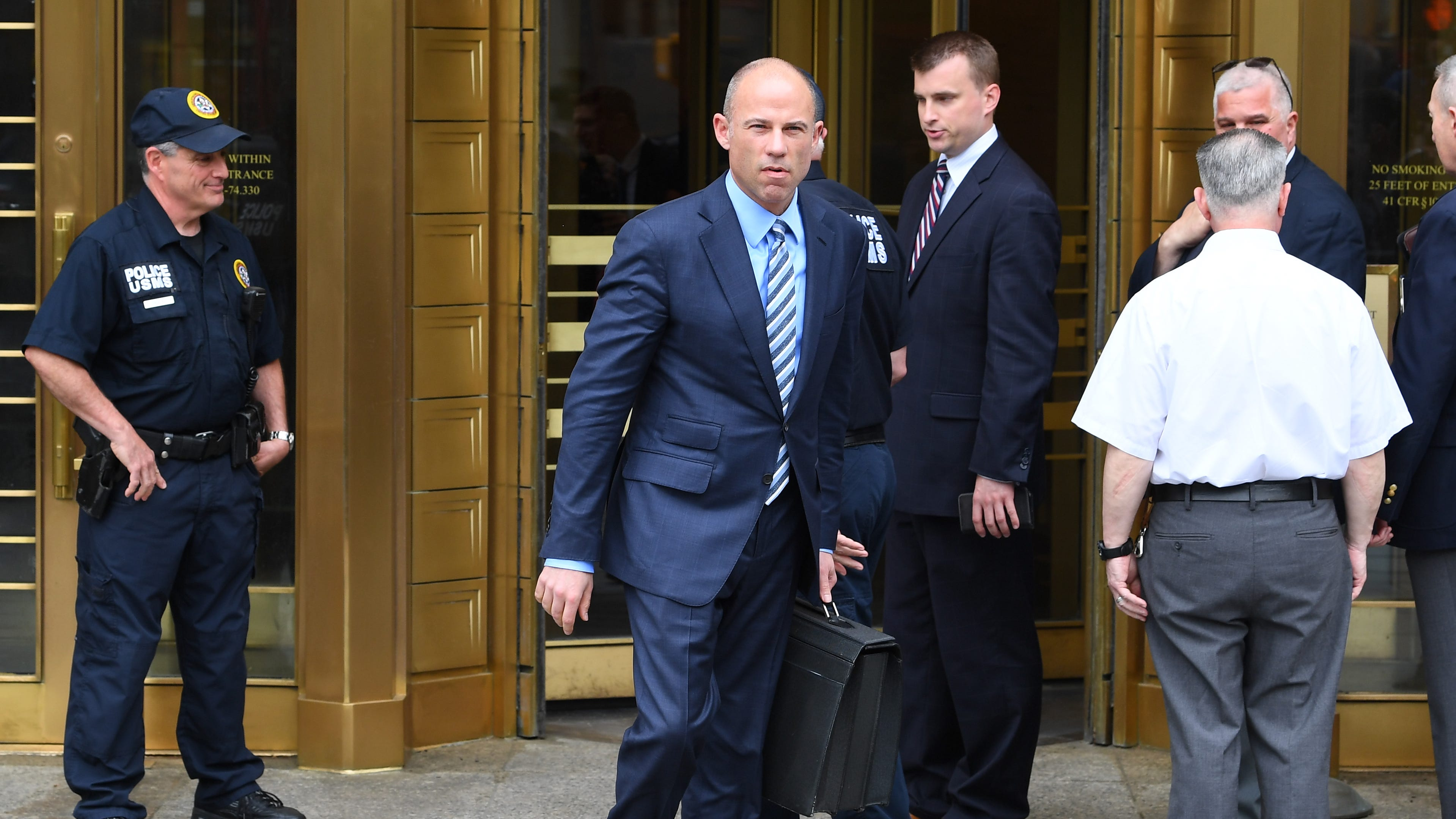 5/30/18 11:44:06 AM -- New York, NY, U.S.A  --  Attorney Michael Avenatti leaves the U.S. Courthouse in New York and addresses the media after a scheduled hearing May 30, 2018.