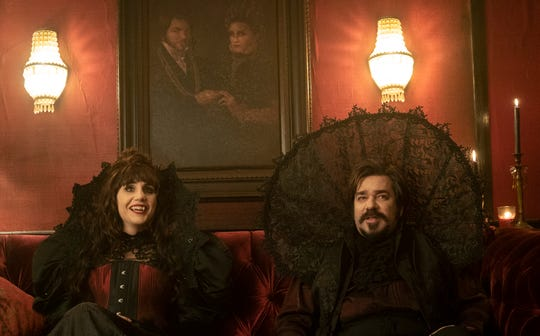 "Natasia Demetriou as Nadja and Matt Berry as Laszlo on ""What We Do in the Shadows."""