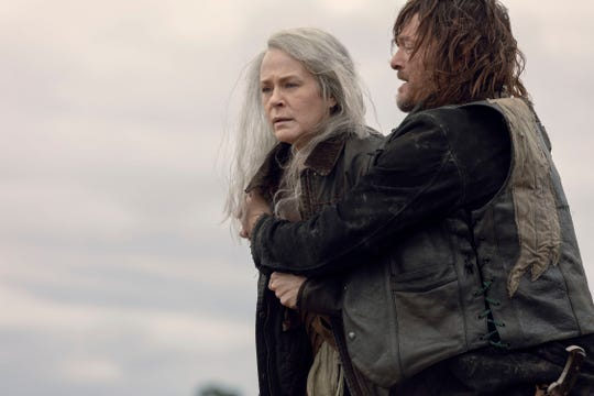 Carol (Melissa McBride) and Daryl (Norman Reedus) react to a gruesome sight on Sunday's episode of AMC's 'The Walking Dead.'