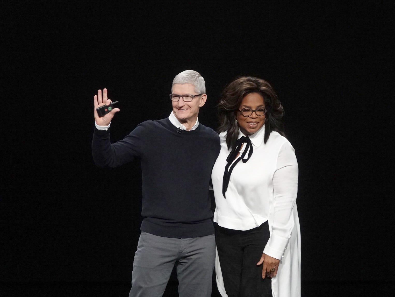 Tim Cook and Oprah Winfrey.