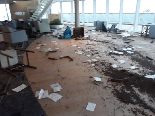 The scene on board the Viking Sky cruise ship after it was stranded off Norway in a howling storm and hundreds of passengers were rescued by helicopter airlift.